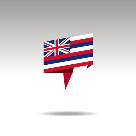 Hawaii paper flag 3d realistic speech bubble on white background