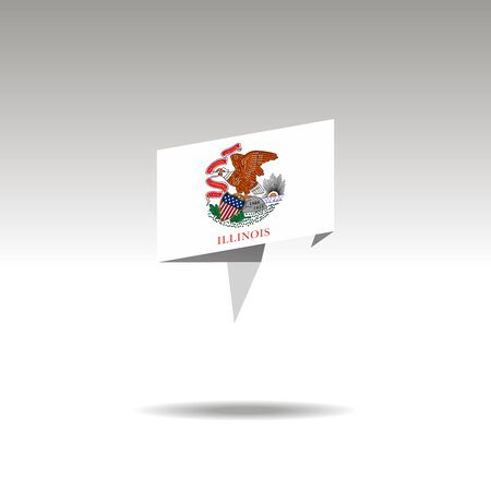 Illinois paper flag 3d realistic speech bubble on white background  イラスト・ベクター素材