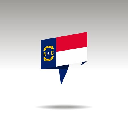 North Carolina paper flag 3d realistic speech bubble on white background