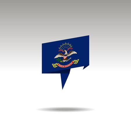 North Dakota paper flag 3d realistic speech bubble on white background Stock Illustratie