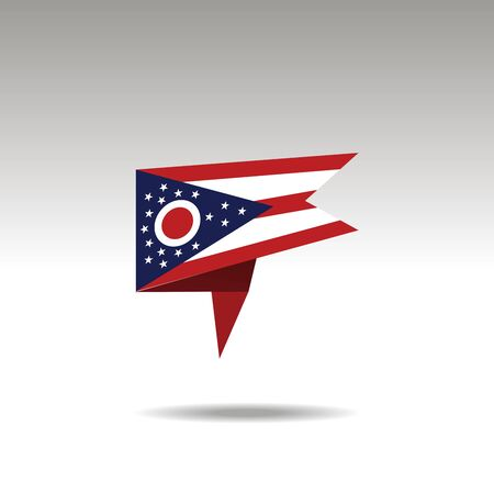 Ohio paper flag 3d realistic speech bubble on white background
