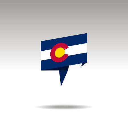 COLORADO paper flag 3d realistic speech bubble on white background  イラスト・ベクター素材