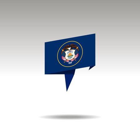 Utah paper flag 3d realistic speech bubble on white background