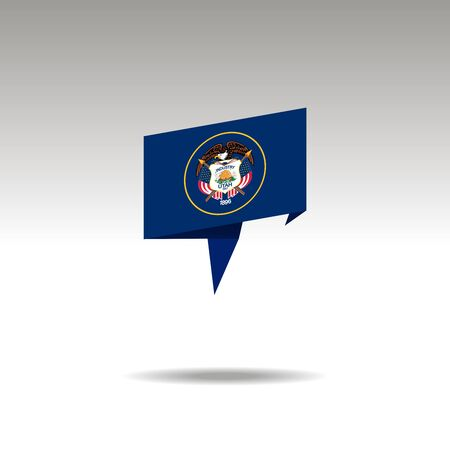 Utah paper flag 3d realistic speech bubble on white background