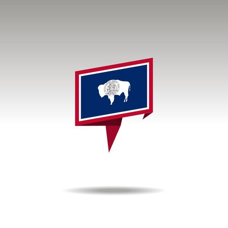 Wyoming paper flag 3d realistic speech bubble on white background