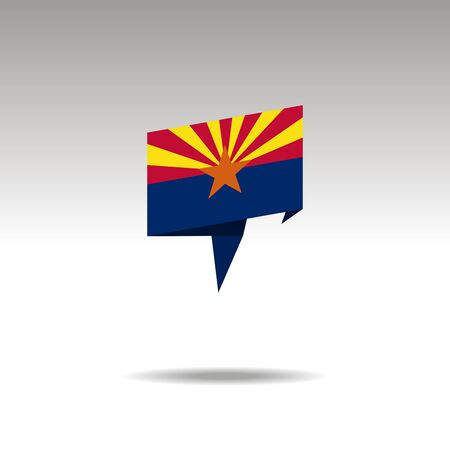 Arizona paper flag 3d realistic speech bubble on white background  イラスト・ベクター素材
