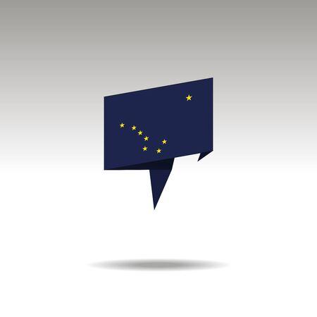 ALASKA paper flag 3d realistic speech bubble on white background