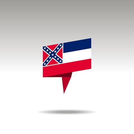 Drapeau de papier du Mississipi 3d bulle de dialogue réaliste sur fond blanc