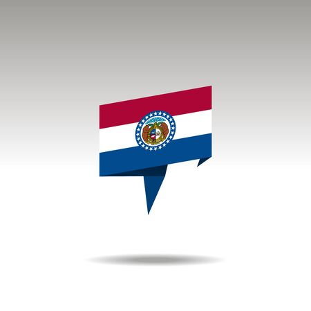 Missouri paper flag 3d realistic speech bubble on white background