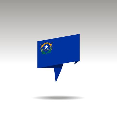 NEVADA paper flag 3d realistic speech bubble on white background Illustration