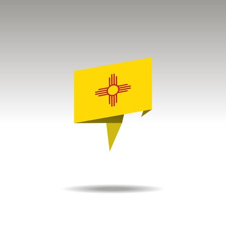 New Mexico paper flag 3d realistic speech bubble on white background