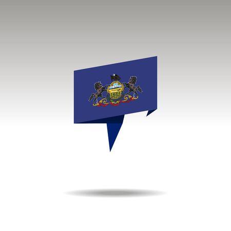 Pensilvania paper flag 3d realistic speech bubble on white background Illustration