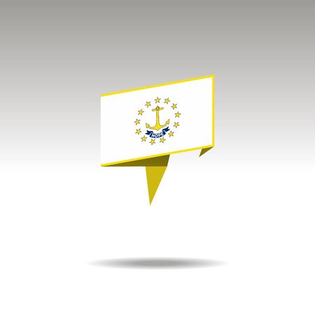 Rhode Island paper flag 3d realistic speech bubble on white background Illustration