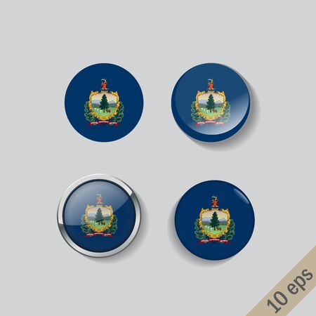 Set of Vermont flag glass buttons.Vector illustration.