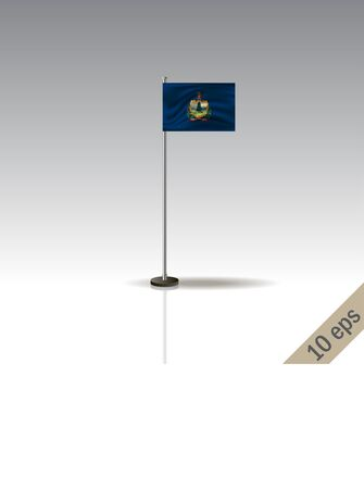 Vermont vector flag template. Waving Vermont flag on a metallic pole, isolated on a gray background. 10 eps Ilustração