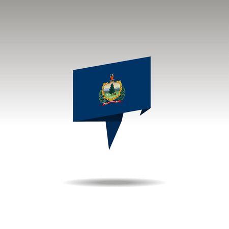 Vermont paper flag 3d realistic speech bubble on white background