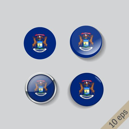 Set of Michigan flag glass buttons.Vector illustration.  イラスト・ベクター素材