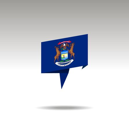 Michigan paper flag 3d realistic speech bubble on white background