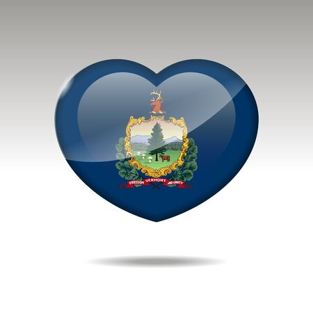Love Vermont state symbol. Heart flag icon. Vector illustration.