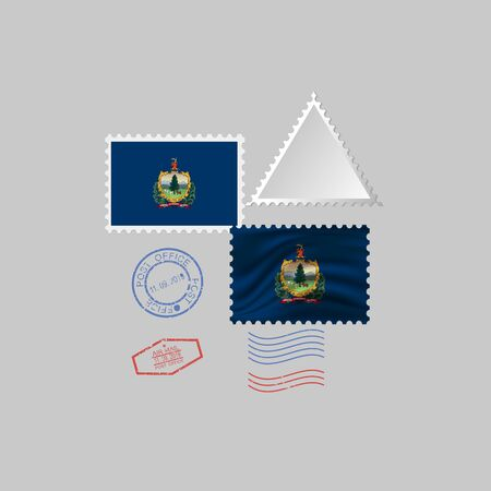 Postage stamp with the image of Vermont state flag. Vermont Flag Postage on gray background with shadow. Vector Illustration.