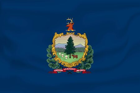 Waving Flag of Vermont is a state of USA. Vector illustration. Waving Flag of Vermont is a state of USA. Vector illustration