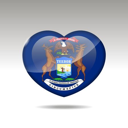 Love Michigan state symbol. Heart flag icon. Vector illustration.
