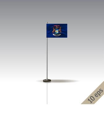 Michigan vector flag template. Waving Michigan flag on a metallic pole, isolated on a gray background. 10 eps Illustration