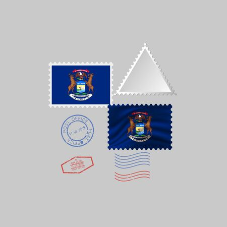 Postage stamp with the image of Michigan state flag. Hawaii Flag Postage on gray background with shadow. Vector Illustration.