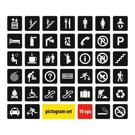 Vector illustration set of information signs , set of icons isolated on white background. Collection of information symbols Ilustração