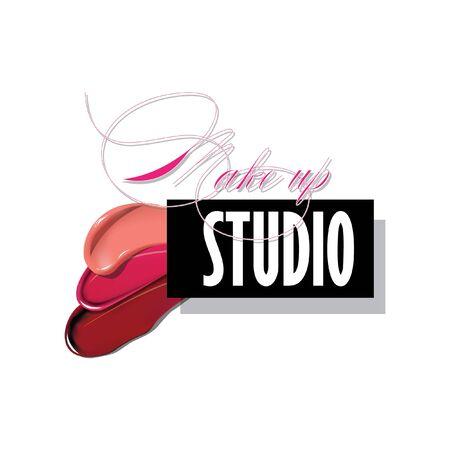Makeup studio logo design template. Vector logotype layout Illusztráció