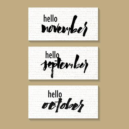 Hello november. Hand written elegant phrase. Typography poster, sticker design, apparel print.