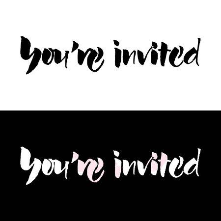 Signe de mariage de texte de script pour vous êtes invités