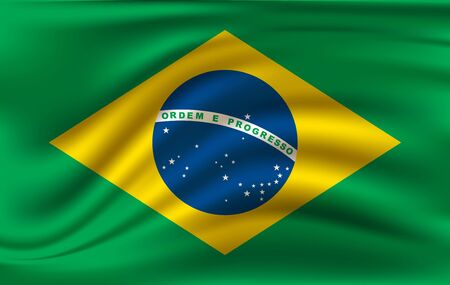 Flag of Brazil. Realistic waving flag of Federative Republic of Brazil. Fabric textured flowing flag of Brazil.