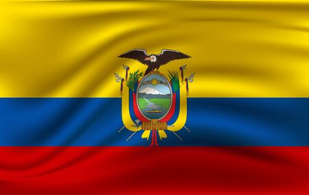 Realistic waving flag of the Waving Flag of Ecuador, high resolution Fabric textured flowing flag,vector EPS10