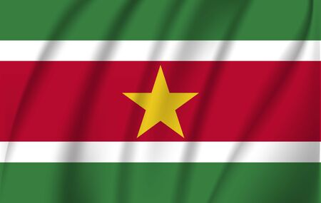 Realistic waving flag of the Waving Flag of Suriname, high resolution Fabric textured flowing flag,vector EPS10 Stock Illustratie