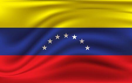 Realistic waving flag of the Waving Flag of Venezuela, high resolution Fabric textured flowing flag Illusztráció