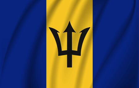 Realistic waving flag of the Waving Flag of Barbados, high resolution Fabric textured flowing flag,vector EPS10