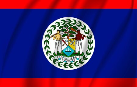 Realistic waving flag of the Waving Flag of Belize, high resolution Fabric textured flowing flag,vector EPS10