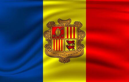 Realistic waving flag of the Andorra. Fabric textured flowing flag Illusztráció