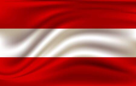 Realistic waving flag of the Austria. Fabric textured flowing flag Illusztráció