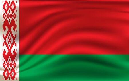 Realistic waving flag of the Belarus. Fabric textured flowing flag Illusztráció
