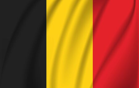 Realistic waving flag of the Belgium. Fabric textured flowing flag,vector