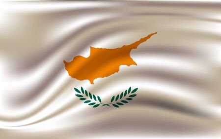 Cyprus flag waving with wind effect 일러스트