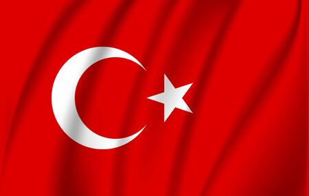 Realistic waving flag of the Turkey. Fabric textured flowing flag,vector EPS10 Vektoros illusztráció