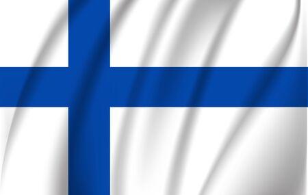 Waving flag of Finland, vector Illusztráció