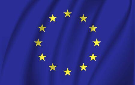 Die Flagge der Europäischen Union wehte im Wind. Aus Stoffstücken genäht, eine sehr realistische detaillierte Flagge, die im Wind weht, mit der Textur des Materials.