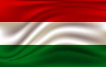 Hungary flag waving in the wind. High quality illustration. Illusztráció