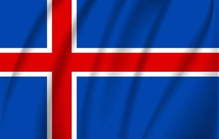 Iceland flag. Simple vector Iceland flag with shadow Illusztráció