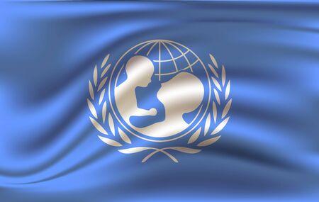 Waving flag of the Unicef. 10 eps