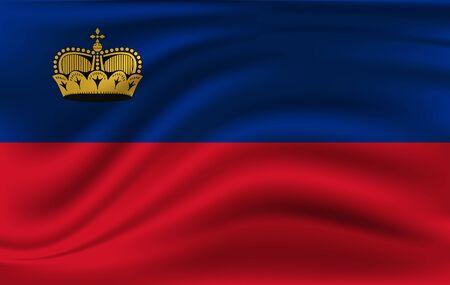 Liechtenstein grunge waving flag. 10 eps Illusztráció